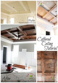 Pull down drywall, Use current cross beams in ceiling to create fake coffered look. Coffered Ceiling Tutorial Featured on Remodelaholic Home Renovation, Home Remodeling, Bedroom Remodeling, Decoration Inspiration, Wood Bedroom, Bedroom Ceiling, Mirror Bedroom, Diy Home Improvement, Home Interior