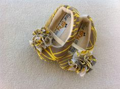 Satin Baby Girl Shoes in Yellow, Gray, and White.