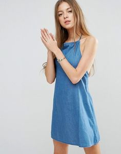ASOS Denim Halter Neck Sundress in Mid Wash Blue