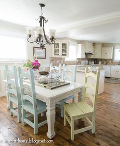 Love the idea of each chair a different pastel color with a rustic white table for the eat-in kitchen.
