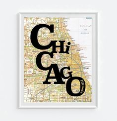 Chicago Illinois Typography Vintage Map ART by droppedpinshop