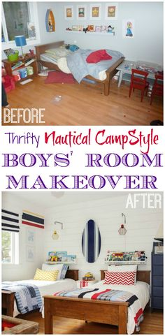 Before and After Thrifty Nautical Camp Style Boys' Room Makeover at thehappyhousie.com