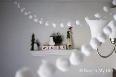Cotton ball garland. Adorable! +4 more simple diy garlands