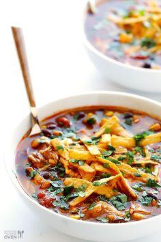 Slow Cooker Chicken Enchilada Soup   gimmesomeoven.com #crockpot