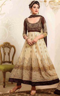 Cream Net Ankle Length Anarkali Salwar Kameez 44419