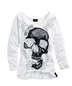 Harley-Davidson® Women's Black Label Skull and Sparkle Long Sleeve Knit 96210-14VW