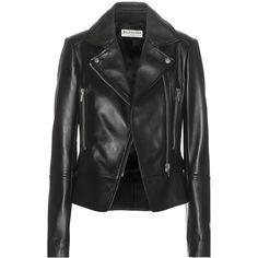 Balenciaga Leather Biker Jacket (35.849.125 IDR) ❤ liked on Polyvore featuring outerwear, jackets, leather jackets, black, genuine leather jacket, motorcycle jacket, leather jacket, rider jacket and balenciaga