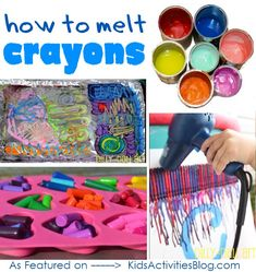 how to melt crayons: Great for all those crayons I bought at the dollar store that have blue wrapping that wouldn't work for my wreath Wax Crayon Art, Crayon Crafts, Wax Crayons, Melting Crayons, Wax Art, Crayon Ideas, Crafts To Do, Crafts For Kids, Arts And Crafts