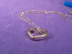 Vintage Silver Floating Heart Pendant by VintageJoolsAndMore