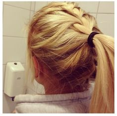 Simple French braid-turned-ponytail. Haven't tried it yet, but it seems easy enough! Perfect for a quick morning style.