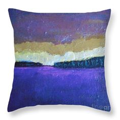 Landscape Throw Pillow featuring the painting Sunset Abowe Lavender Field by Vesna Antic