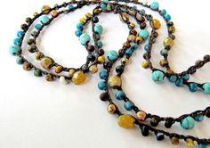 "Crochet wrap bracelet, beaded, boho necklace, ""lake side"",  turquoise magnesite, bohemian jewelry, semi precious, crochet jewelry, ooak"
