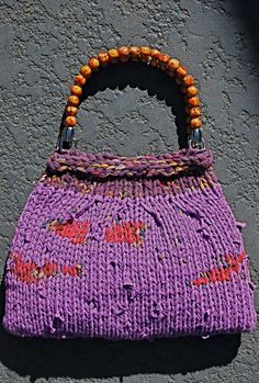 Knitted with recycled t-shirt yarn dyed Radiant Orchid, the Pantone color for 2014!