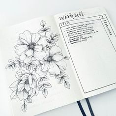 Lovely drawing of flowers in bullet journal and a wishlist bulletjournal bujo wishlist law of attraction planner law of attraction guide manifestation guide gratitude journal visi Planner Bullet Journal, Bullet Journal Spread, Bullet Journal Inspo, Bullet Journal Layout, Bullet Journal Wish List, Draw Tutorial, Arte Sketchbook, Journal Aesthetic, Journal Pages