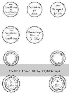 KayBeScraps: Freebies - runde Labels in deutsch