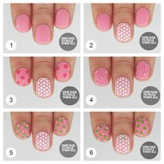 Pink Dotted Nail Design