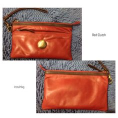 Red #Clutch -Leather
