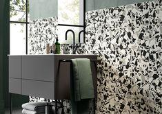 DIZAJNOVÁ KÚPEĽŇA - Výnimočné talianske obklady / BENEVA Black And White Lines, Tiles, Curtains, Flooring, Retro, Wall, Bathroom, Home Decor, Wall Tiles