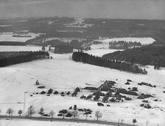 Battle Of The Bulge - Aerial view over Ardennes of a tent hospital at Vaux Chavannes. 1945