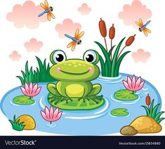 The Frog Sits on a Leaf in the Pond. by svaga The frog sits on a leaf in the pond. Vector illustration in childrens style. Lake with insects and animals. Drawing Lessons For Kids, Art Drawings For Kids, Cartoon Drawings, Easy Drawings, Art For Kids, Art Children, Pond Drawing, Frog Drawing, Frosch Illustration