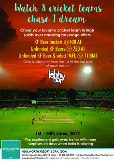 Applaud your favourite teams till the last ball in sky high spirits as we let out the best beverage offers this cricketing season from 1st to 18th June!! #KenilworthHotels #LiveScreening #Offer #Dream #Restaurant #Goa