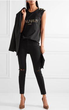 5ffff531ed Balmain logo tshirt + black skinny jeans + black blazer   perfection