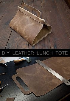 Awesome  Crafts for Men and Manly DIY Project Ideas Guys Love - Fun Gifts, Manly Decor, Games and Gear. Tutorials for Creative Projects to Make This Weekend | DIY Leather Lunch Tote |  http://diyjoy.com/diy-projects-for-men-crafts