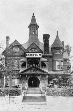 """The Rolin Film Company, founded by Hal Roach in the Bradbury Mansion at the corner of Court Street and Hill Street in Los Angeles - 1915 Harold Lloyd started his climb to fame at this studio. It was so drafty, that he dubbed it """"Pneumonia Hall"""". Sadly, it was demolished in 1929."""