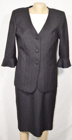 LESLIE FAY Black/Beige Dress Suit 12 Sleeveless Dress 3/4 Sleeve Jacket Blazer #LeslieFay #DressSuit