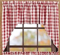 Give your room a fun makeover by adding our Buffalo Red Check Swag Curtains! Add our Buffalo Red Check Tiers for more privacy. https://www.primitivestarquiltshop.com/products/buffalo-red-check-swag-curtains #countrystylecurtains