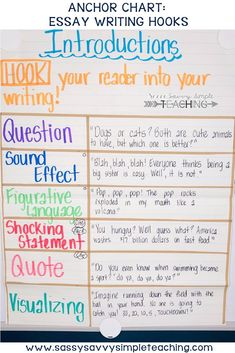 Essay Writing Hooks Anchor Chart - Essay Writing Introductions to Hook your Audi. - Essay Writing Hooks Anchor Chart – Essay Writing Introductions to Hook your Audience Swarmed Conditions. Writing Lessons, Teaching Writing, Writing Activities, Writing Skills, Writing Process, Writing Ideas, Kindergarten Writing, Teaching Ideas, Math Writing
