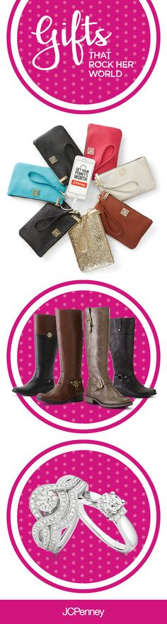Whether it's your mom, grandmother, daughter or that special someone in your life – you know that they deserve only the best this holiday season. Classic riding boots, fine jewelry, beautiful diamond rings and fun fashion wallets make for the perfect Christmas gift. Click the image to shop unforgettable gifts that will rock her world!
