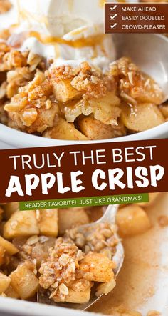 Old Fashioned Easy Apple Crisp Chopped Apples, Cinnamon, Brown Sugar, And The Best Crispy Oat Topping, Baked Into The Ultimate Fall Dessert Top With A Scoop Of Ice Cream And Salted Caramel For The Perfect Treat Best Apple Crisp Recipe, Apple Crisp Easy, Apple Crisp Recipes, Apple Tart Recipe Easy, Apple Crisp Topping, Best Apple Recipes, Crumble Topping, Fall Recipes, New Recipes
