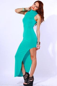 #clubwear21.com #dress #fashion Green high neck side slit fitted party evening maxi dress-$45.00
