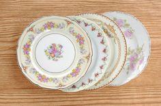 Vintage Mismatched China Plates for Weddings  by RosebudsOriginals