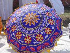Umbrella with Decorative Indian Blue Elephants