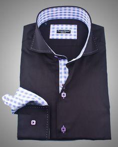 Italian shirts for men   Stylish Back shirt   Italian black napoli