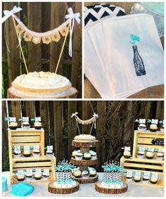 Rustic Black, White,  Tiffany Blue Wedding via Kara's Party Ideas KarasPartyIdeas.com #rusticwedding #weddingdesserttable #partyideas #kara...
