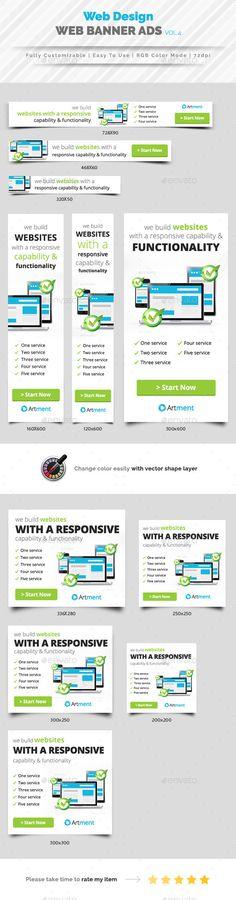 Web Design Banner Ads Template PSD #design Download: http://graphicriver.net/item/web-design-banner-ads-vol4/14430303?ref=ksioks