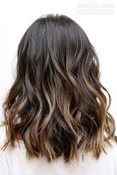 Le Fashion Blog Brown Brunette Hair Inspiration Subtle Ombre Sombre Highlights Balayage Beachy Waves Via Anh Co Tran photo