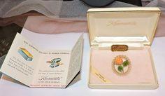 2478~Vtg Signed KREMENTZ 14k Gold Overlay Genuine Carved Jade Coral Rose Brooch~ #Krementz