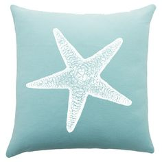 Bring ocean-chic style to your sofa or favorite reading nook with this charming cotton pillow, featuring a starfish motif. Handmade in the USA.