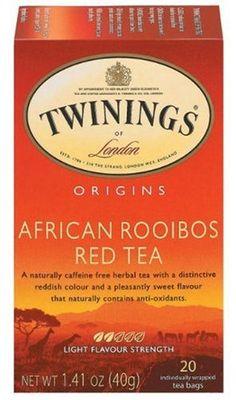 Twinings African Rooibos Red Tea, 20-Count Tea Bags (Pack of 6)