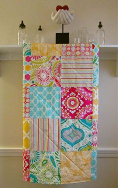 Baby Quilt - Sunny Kumari - Flannel or Minky Back - Pink, Yellow, Blue, Ivory, Green, and Hot Pink - Toddler Quilt by FernLeslieBaby on Etsy https://www.etsy.com/listing/153807778/baby-quilt-sunny-kumari-flannel-or-minky
