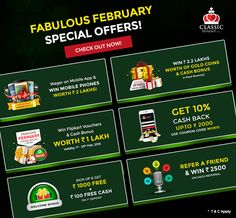 Have you checked out our Fabulous February Promotions, yet? If not, check out now!  #rummy #classicrummy #fabulousfebruary #promotions #offers #february