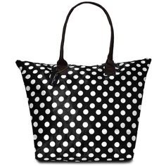 Peach Couture Kylie Polka Dot Plage a Main Waterproof Beach Tote ($25) ❤ liked on Polyvore featuring bags, handbags, tote bags, beach tote bags, zippered tote, zip tote, black tote bag and black handbags