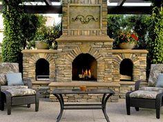 Inviting Stone Fireplace made of El Dorado stone.