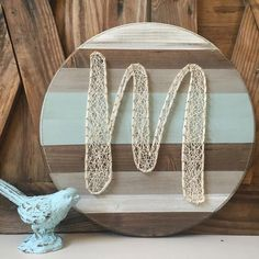 Monogram Initial String & Nail Art. Rustic Home and Wall Decor