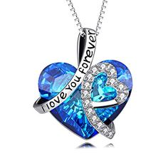 AOBOCO Heart Necklace 925 Sterling Silver I Love You Forever Pendant  Necklace Blue Swarovski Crystals Jewelry Women Anniversary Birthday Gifts  Girls ... c7100e55ee0f