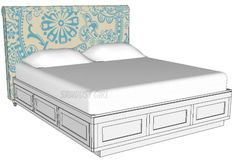 California king storage bed. https://sawdustgirl.com/2014/01/23/cal-king-platform-storage-bed/